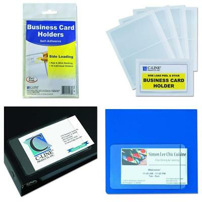 C-Line 70238 Self-Adhesive Business Card Holders, Side Load, 3 1/2 x 2,...