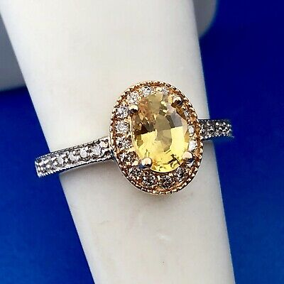 Designer 14K Yellow and White Gold Oval Citrine Diamond Halo Cocktail Ring