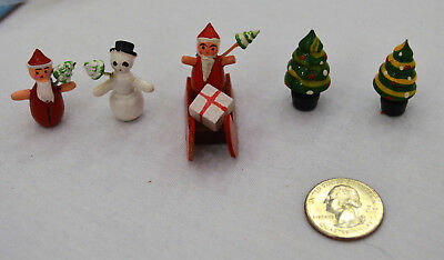 Miniature Vintage Wooden Hand Painted Christmas Figures Santa Sleigh, Snow Man