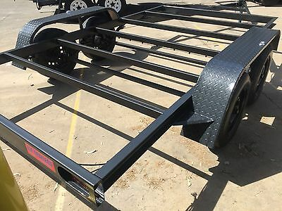 Car Trailer Frame Tandem axle 12X6.6FT 2T BUDGET NO RAMPS FLOOR PAINT WIRING