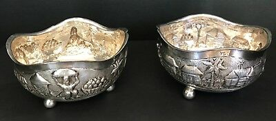 Antique Southeast Asia Footed Silver Bowls Qty 2
