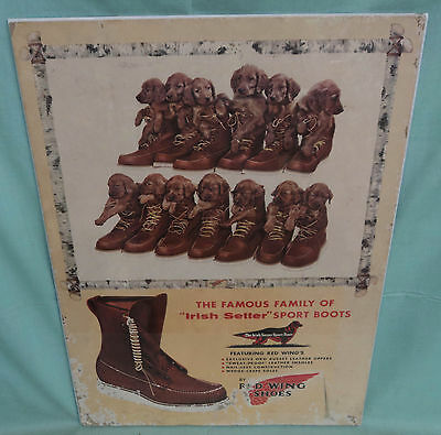 """Vintage RED WING SHOES Cardboard Sign Irish Setter Sport Boots 16 ¾"""" by 23"""""""