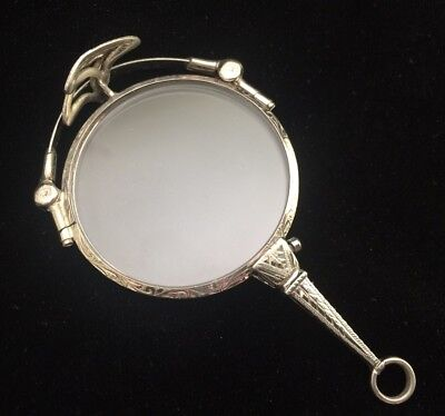 Antique SILVER FOLDING ORNATE Handled Lorgnette wiith POUCH Case