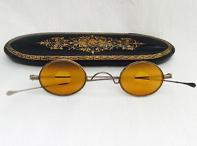 Antique Silver Tone Yellow / Amber Tinted SHOOTERS Curly Nose Eyeglasses + CASE