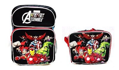 """Avengers Assemble Boys 16"""" Canvas Black & Red School Backpack with Lunch Bag"""
