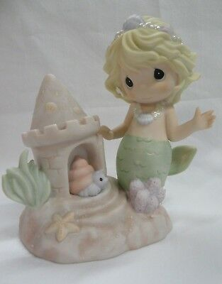 """Precious Moments """"You Bring Me Out Of My Shell"""" Mermaid w/ sandcastle"""