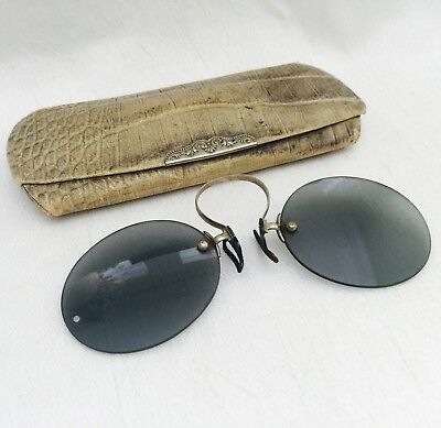 ANTIQUE Silver Tone PINCE Nez Folding Green Tinted SPECTACLES with UNIQUE CASE