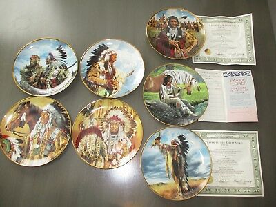 7 Native American Indian Plates (some w/ papers) Franklin Mint Collection!!!!!!