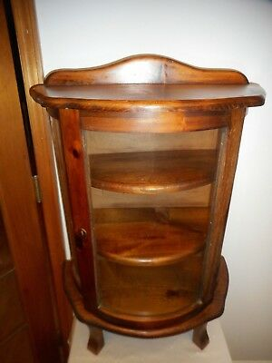 "Vintage Beveled Glass Free Standing Large 32"" Pine 3-Shelf Curio Cabinet- Sweet!"