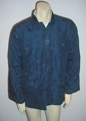 1940 Double Horse Pure Silk Chinese Blue Quilted Men's Jacket Size Small!