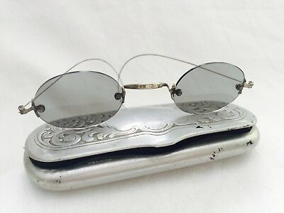 Antique Silver Tone CIVIL WAR FRANKLIN Look Rimless GREEN TINT Spectacles + CASE