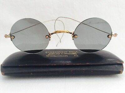 Antique GOLD Tone Look RIMLESS Green Round Lens SUNGLASSES with Rivets & Case