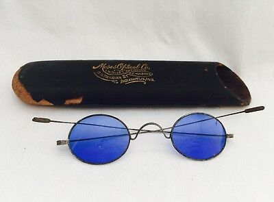 Antique Gun Metal? CIVIL WAR FRANKLIN Look BLUE TINT Spectacles with Tube Case