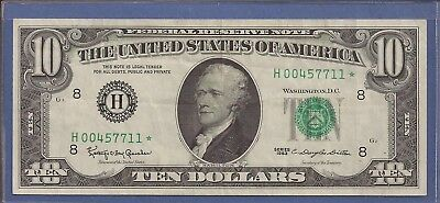 1963 $10 Federal Reserve Note,H-St. Louis,*Rare* Star,Green Seal,crisp VF,Nice!