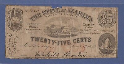 1863 Obsolete 25¢ Note,Confederate States of America,State of Alabama,Fine,Nice!