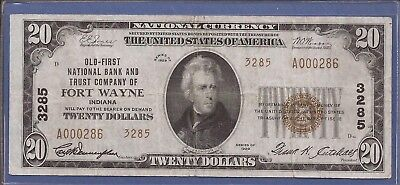 CH 3285,1929 T-2 $20 National Currency,Old 1st NB and TC of Fort Wayne,VF,Nice!