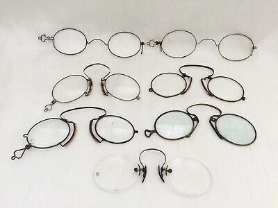 Antique Lot of 7 CIVIL WAR Looking PINZE NEZ & CLIP ON SPECTACLES AS-IS-AS-SHOWN