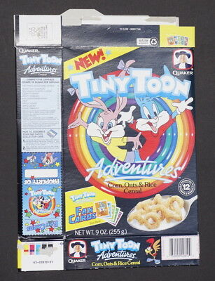 Quaker Tiny Toons Adventures cereal box with Fan Cards on back  1990