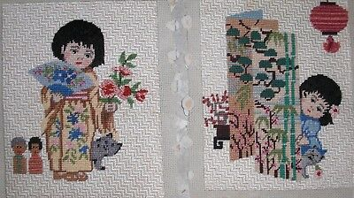 """2 vintage completed Needlepoint  young Japaneses girls 10""""x8"""" each"""