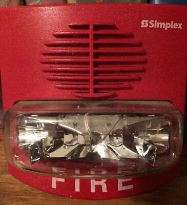 Simplex 4903-9417 T/A Non Addressable 15 cd A/V red fire alarm w strobe & horns