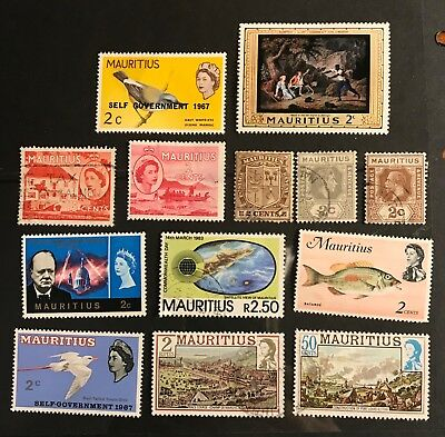 Mauritius postage stamps lot of 13 old