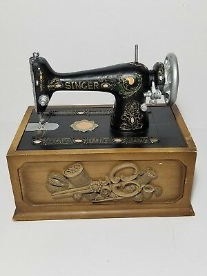 VINTAGE REPLICA MINI MetalWood Singer Sewing Machine Notions Box W Custom Metal Singer Sewing Machine