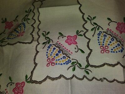 Madeira Embroidered Set of Six 9 inch square linen napkins