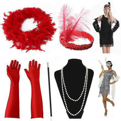 AU 5Pcs Gatsby Flapper Dress 1920s Accessories Costumes Headband Necklace Gloves