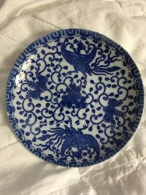 Antique Japanese Thin Porcelain Blue And White Small Plate