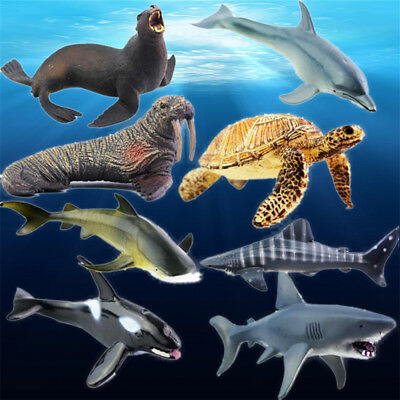 Plastic Ocean Animals Figure Sea Creatures Model Toys Dolphin Shark Turtle Whale