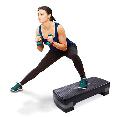 """Fitness Aerobic Step Adjust 4"""" - 6"""" Workout Exercise Stepper with 2 risers"""