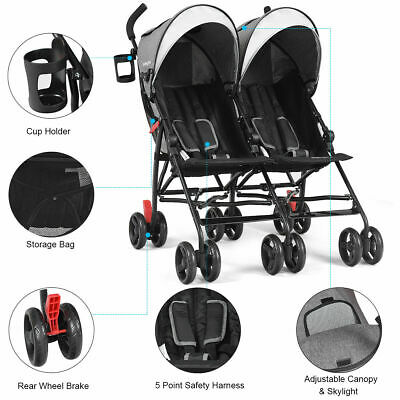 Foldable Twin Baby Double Stroller Kids Ultralight Umbrella Stroller Pushchair