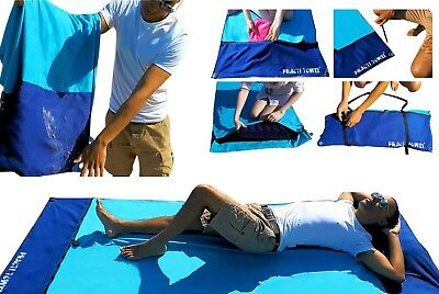 LARGE MICROFIBRE LIGHTWEIGHT HOLIDAY BEACH TOWEL - sand proof, wind proof