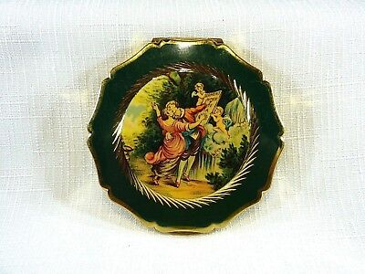 Vintage Stratton England Courting Scene Green & Gold Tone Metal Powder Compact