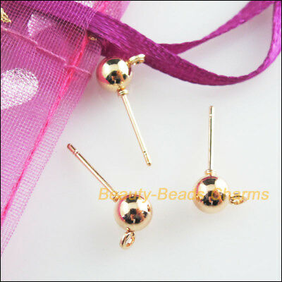 30 New Findings Champagne Gold Round Ball Wire Earrings Hooks 5x16mm