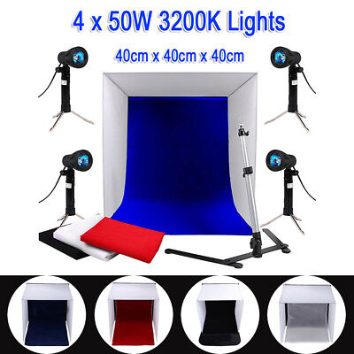 Photography Studio 40CM Photo Light Tent Cube Soft Box Lighting 4x Backdrops Kit