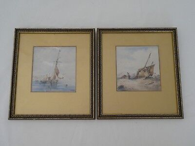 Antique Victorian Maritime Watercolour Paintings 1874 Signed