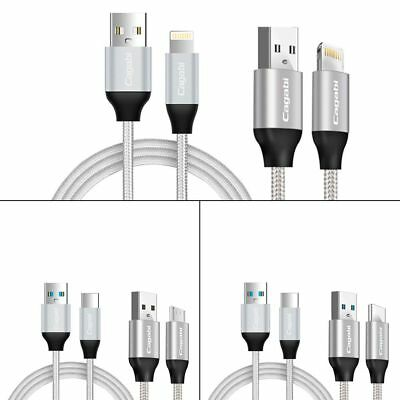 1M Nylon 5V/2.4A 480Mbps Micro USB/Type C/8 Pin Data Charging Cable Sync Cord