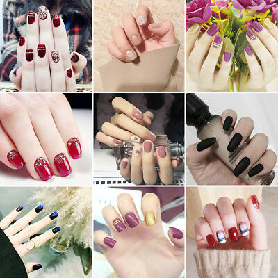 24pcs/Set Full Cover False Fake Nails Tips Nail Art Design French With Glue