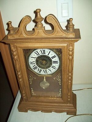 Vintage Miniature Electric Grandfather Clock American made Spartus 1970's Faux