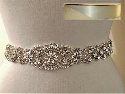 Wedding Belt, Bridal Sash Belt - Silver Clear Crystal Sash Belt = SILVER GRAY