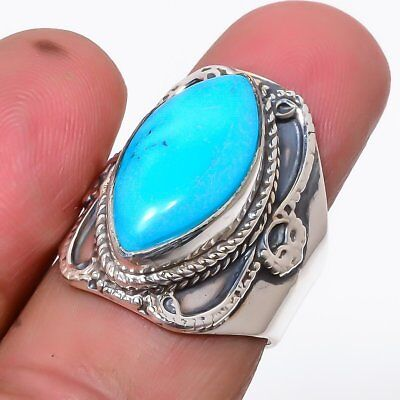Egyptian Sleeping Beauty Turquoise Vintage 925 Sterling Silver Ring 8(13)_R