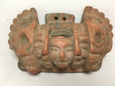 "Terra Cotta Mask Of 3 Ages Of Life Aztec Mexico 6.5"" Skull"