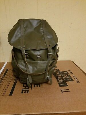 Vintage Swiss Army Military Waterproof Leather and Rubber Backpack Rucksack