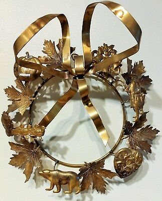 "Antique Petite Choses Dresden Holidays Christmas Brass Wreath 8"" Vintage Animals"
