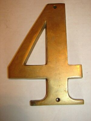 "Vintage Brass Crafters Taiwan Number 4 - LARGE 7"" x 5"" - Heavy"