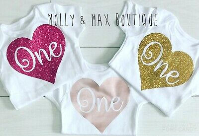 Luxury Girls First 1st Birthday Cake Smash Rose Gold Top Vest T-Shirt Outfit Set