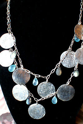 """Oxidized 925 & Blue Stone 2 Tiered Coin Necklace 18"""""""