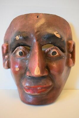 Antique Old Mexican Dance Mask, Man Character Mask, Mexican Folk Art, Vintage