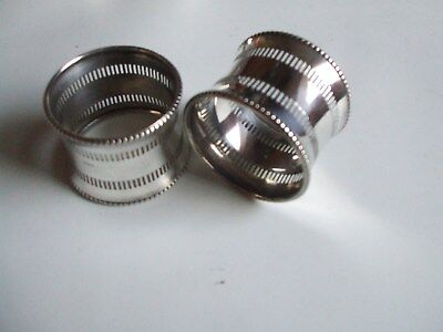 Pair of antique 1911 sterling silver napkin rings, 33.2 grams